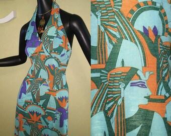 Egyptian Vintage 70s Halter Maxi Dress Mod Hippie Boho Nefertiti Egypt Art Deco Print Aqua Turquoise Rust Orange 1970s Festival Size Small