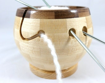Mid Size Wooden Knitting and Yarn Bowl, Segmented, Hard Maple with a Walnut Rim, Lathe Turned