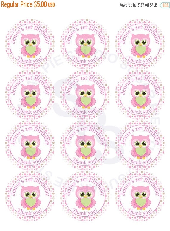 ON SALE Owl WHOOOs Birthday Mix and Match 2.5 inch circle Cupcake toppers or tags Printable Personalized Digital File DIY
