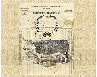 Cow French receipt instant clip art Digital download for iron on transfer to fabric papercraft decoupage pillows tote bags cards No. 2337