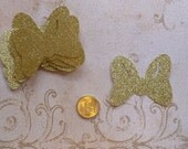 10 Minnie Mouse Shapes Gold Glitter Bow Die Cut pieces for crafts Cupcake Picks DIY Kids Crafts Birthday Party etc.