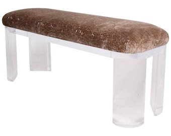 Mid Century Modern Lucite Bench Thick Legs Attributed to Karl Springer