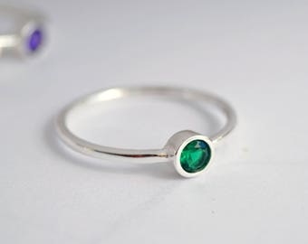 Emerald stacking ring, Green LOVE ring, green stone jewelry, engagement ring, cute gift, petite ring, small  ring, tiny ring, ring for her