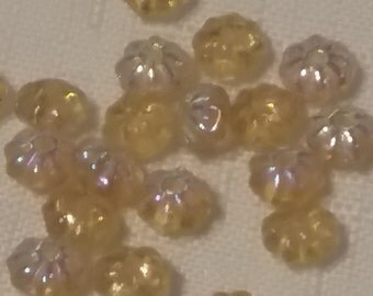 SQUASH Rondells Czech glass BEADS 6mm topaz yellow rainbow ab