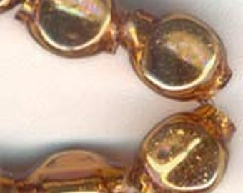 Vintage Glass Beads. 1920s Mercury RARE Japan Hollow GOLD 3-sided antique 24