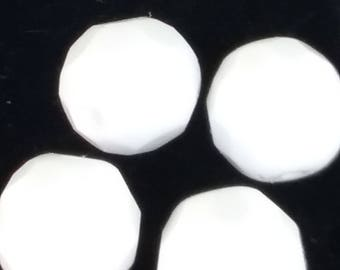 1950s OPAQUE WHITE 14mm CRYSTAL Vintage Glass Beads German (4)