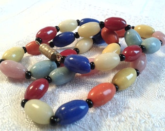Vintage Harlequin Glass Bead Necklace. 30s, 40s.