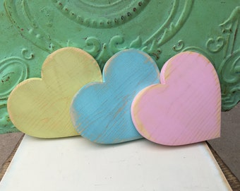 Set of Three Wooden Hearts, Home Decor Heart Set, Spring Heart Set, Primitive Hearts