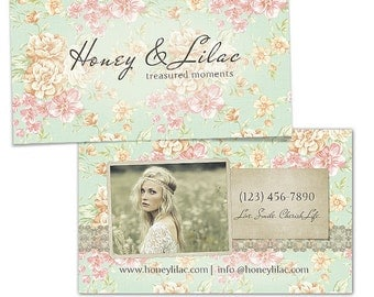 Joli Millesime- Vintage Floral Business Card Template PSD file, WHCC Spec