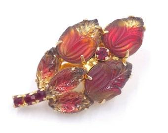 Red Brooch Molded Art Glass Stones Bi-Color Rhinestones Pin Small Spray Pin