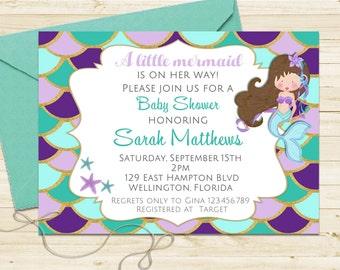 Glitter Mermaid Baby Shower Invitation - Turquoise and Purple Under the Sea Little Mermaid Printable Invite