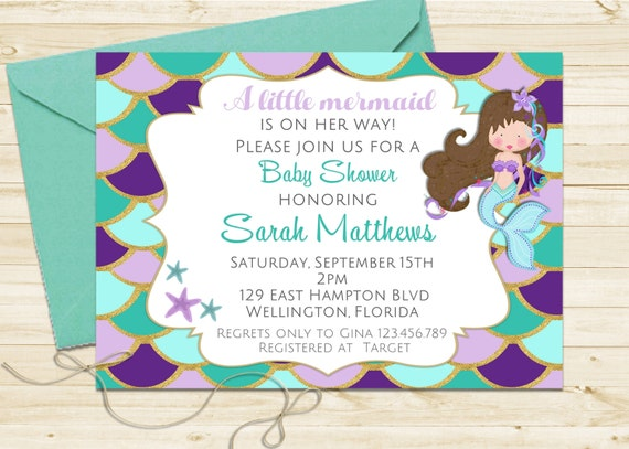 Glitter Mermaid Baby Shower Invitation - Turquoise and Purple Under the Sea Little Mermaid Printable Invite