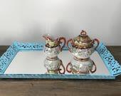Vintage turquoise mirror vanity tray