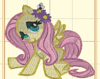 My Little Pony MLP Friendship is Magic FIM Fluttershy PES 4x4 Embroidery Machine Pattern