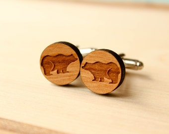 Grizzly Bear Cuff Links, Laser Cut Wood