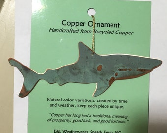 Shark Ornament - Handcrafted out of Recycled Copper