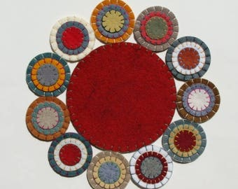 Candle Mat Wool Felt Blend, Handmade, Finished Ready To Ship Barnyard Red