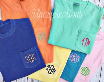 COMFORT COLORS Tshirt | Short Sleeve Monogram Shirt | Comfort Color Monogram Shirt | personalized Tshirt | Monogrammed Pocket TShirts