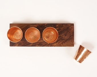 Wooden flight board with copper shot glasses | Son of a Sailor + Sertodo Copper Collaboration