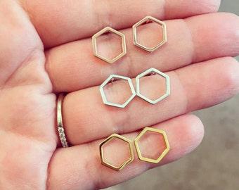 Geometric Earrings, Geometric Jewelry, Hexagon Earrings, Minimalist Jewelry, coworker gift, stud earrings, simplistic earrings, dainty