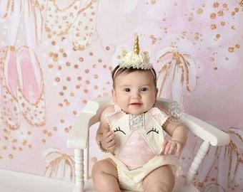 Unicorn themed romper with headband. Newborn-up to 2t photo prop/cake smash set.