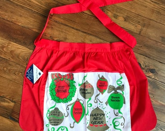Adorable vintage women's Little apron holiday Christmas New Year's