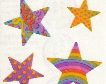 ON SALE Rare Vintage Sandylion Pearl Finish Rainbow Star Stickers - 80's Opal Pearly MOP Collectible Scrapbook