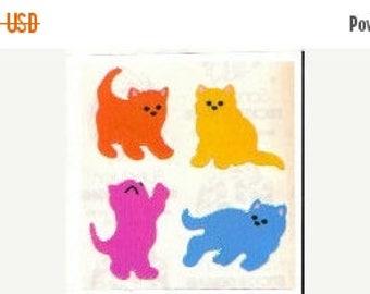 SALE Sandylion Kittens Vintage Pearl Finish Stickers - 80's Opal Rainbow Cat Kitty Feline Kitten Meow