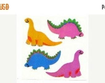 SALE Dinosaur Vintage Sandylion Pearl Finish Stickers - 80's Opal Pearly MOP Stegosaurus Barapasaurus Scrapbook