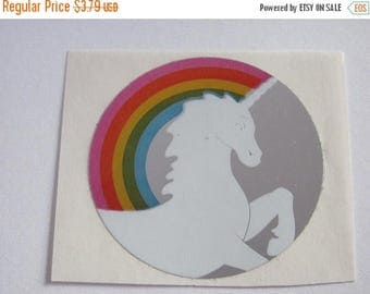 SALE Rare Vintage Hambly Reflective Mylar Rainbow Unicorn Sticker - 80's Collectable Scrapbook Collage Retro Foil