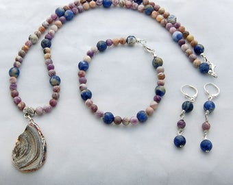 Druzy Charoite Sodalite Natural Stone Necklace Bracelet Earrings Set