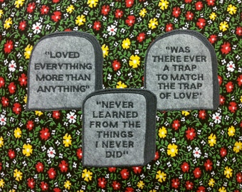 Tombstone Patch Set / Embroidered Patch / Grave / Quotes / Epitaph