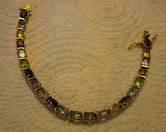 Vintage Rhinestone Tennis Bracelet Sterling Silver Gold Tone