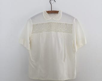 Vintage 80's Lace Peter Pan Collar Cream Blouse M