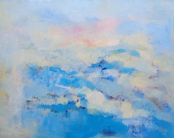 Original modern abstract blue painting sky light blue pink yellow calming therapeutic art