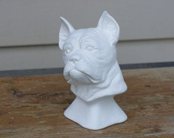 Ceramic Bisque Boxer Bust.