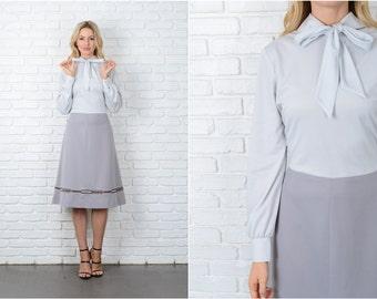 Vintage 70s Gray Color Block Dress Mod Embroidered Geo Geometric Medium M 8994