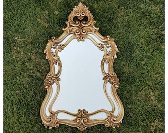 Large Vintage Ornate Gold Acanthus Leaf Wall Mirror