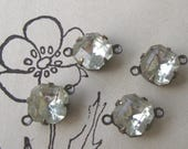 2-Loop Connectors 8mm Vintage Crystal Glass Octagon Rhinestones in Oxidized Brass Settings (4)