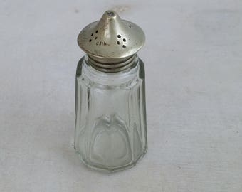 Vintage Salt Shaker Collectible, Glass Salt Shaker Silver Plated Lid, Mid Century Serving Retro Cafe, Small Unique Gift, Victorian Dining