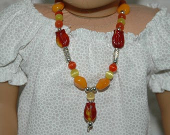 Doll, necklace, american, made, girl, jewelry, 18 inch doll, orange, beads, accessories, 11