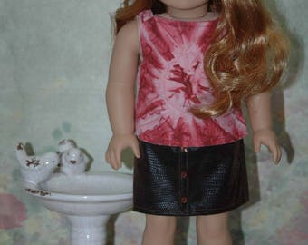 American, made, girl, doll, Doll clothes, for 18 inch doll, faux leather, skirt, blouse, shirt, tank top