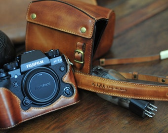 Cow leather case for Fujifilm X-T2/ XT2 xt2 x-t2 include leather full case and leather strap vintage brown