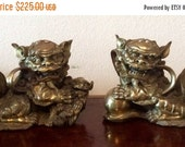 Sale Antique Vintage Ornate Solid Brass Chinese Foo Dog Statues Home Decor Collectibles