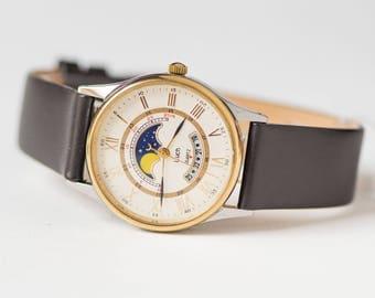 Moon wristwatch quartz, unisex watch Ray gift, vintage wristwatch Night Day, boyfriend's watch silver gold shades, premium leather strap new