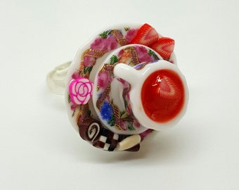 Strawberry Tea Ring. Polymer Clay.