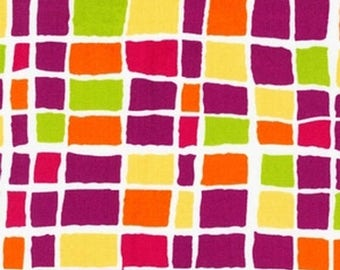 SHOP CLOSING SALE Robert Kaufman fat quarter fabric for quilt or craft Felicity by Bren Talavera Retro Squares in Sorbet