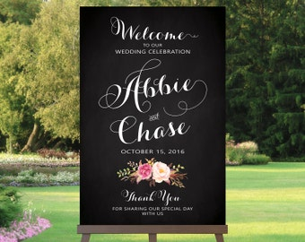 Wedding Welcome Sign | Various Sizes | Romantic Blooms | Vintage | Chalkboard Style | I Create and You Print