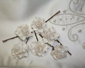6 ivory rose clips, wedding bridal hair clips,  flowergirl, bridesmaid, bobby pins, flower grips, boho hair