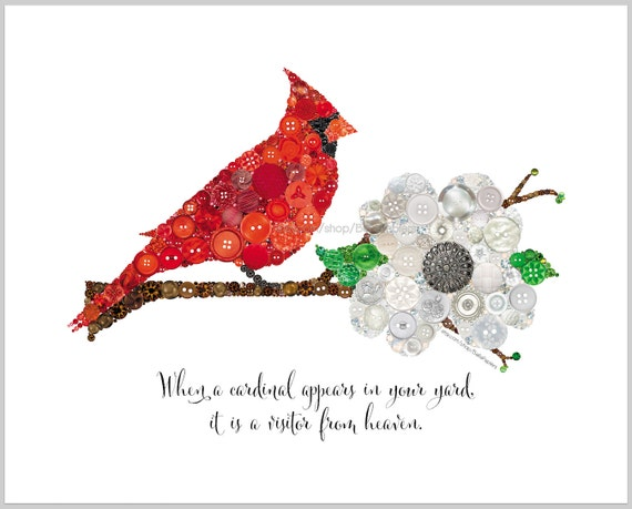 Cardinal Wall Art PRINT Sympathy Gift Lost Loved One